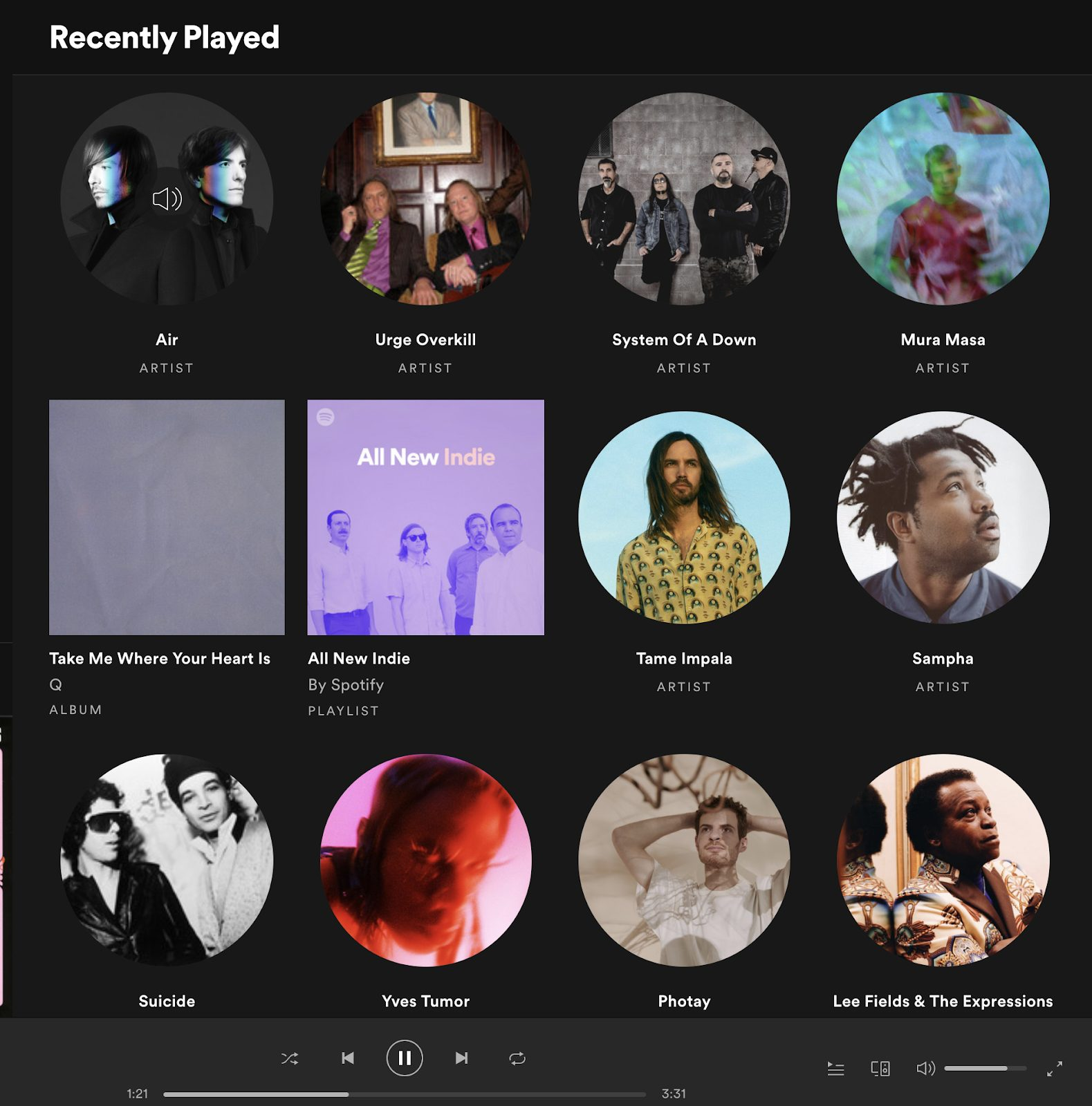 Foreign Air's recently played music on Spotify
